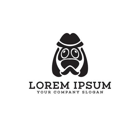 dog head character logo design concept template Ilustracja