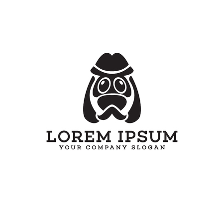 dog head character logo design concept template Illustration