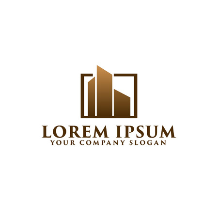 Architectural Construction building logo design concept template. Real-estate logo Stock Illustratie