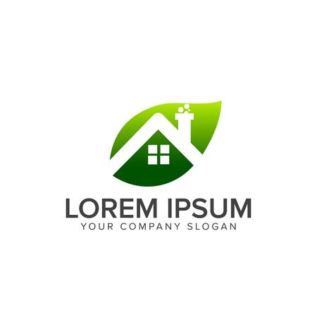 Leaf house real estate logo design concept template