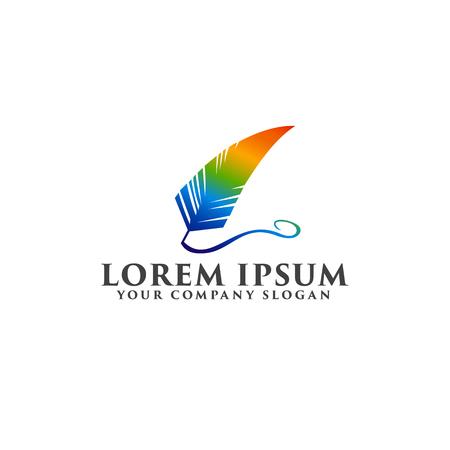 Logo plume avec le logo de modèle de conception de logo de couleur arc-en-ciel Banque d'images - 82888511