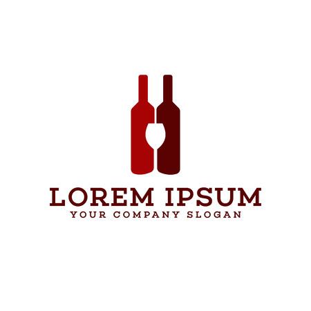 ナイトクラブ ロゴ デザイン コンセプト テンプレート バー ワインのボトルとグラスのロゴ