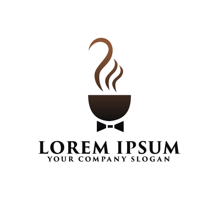 Coffee business with tie logo design concept template