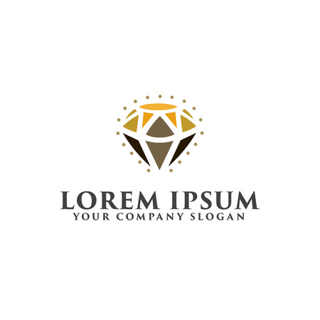 Schoonheid diamanten logo. Sieraden cadeau ontwerpsjabloon Stock Illustratie