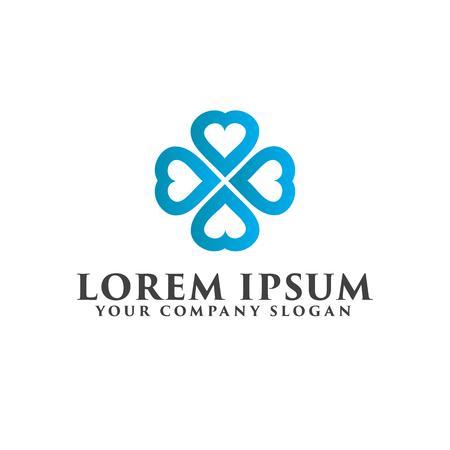 love teamwork logo design concept template