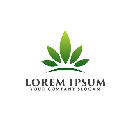 Leaf Garden Floral Landscape. crown leaf logo design concept template