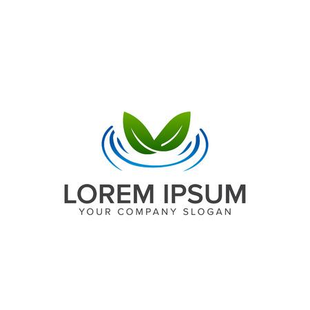 leaf water logo design concept template Illustration