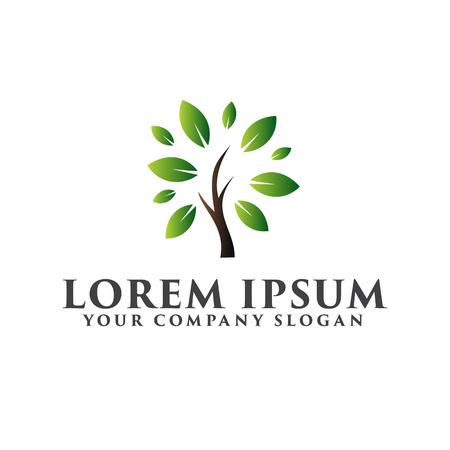 Landscaping Leaf Garden. tree logo design concept template Illustration