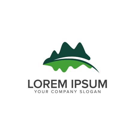 山葉ロゴ。葉花の庭の景色のロゴ デザイン コンセプト テンプレート  イラスト・ベクター素材