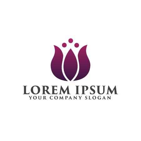 花ロゴ。化粧品と美容のロゴのデザイン コンセプト テンプレート
