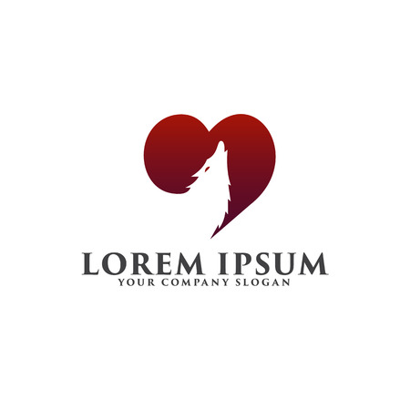 love wolf logo design concept template