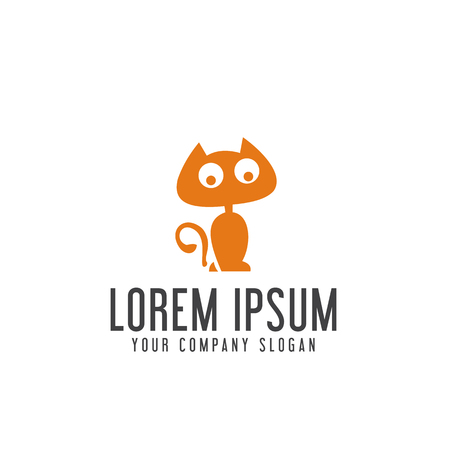 funny cat logo design concept template Ilustração