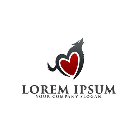 love wolf logo design concept template