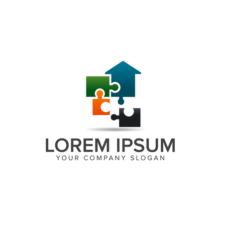 puzzle Real estate logo. Architectural Construction logo design concept template Çizim