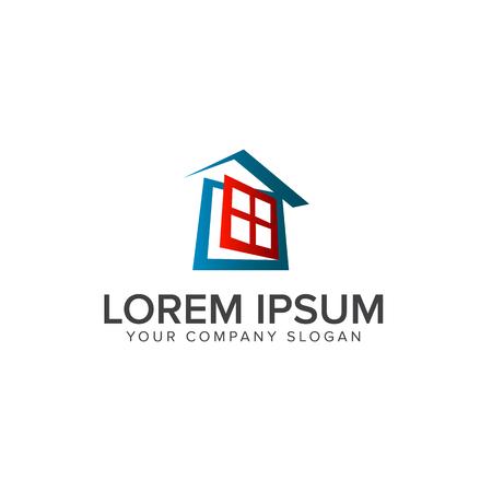 window house logo. Real estate logo design concept template