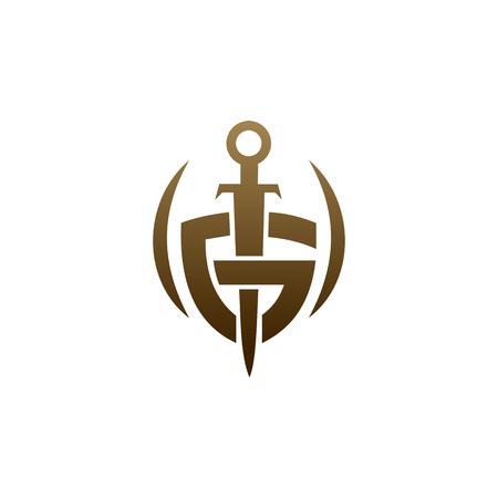 litera G logo miecza tarczy. szablon projektu logo bezpieczeństwa