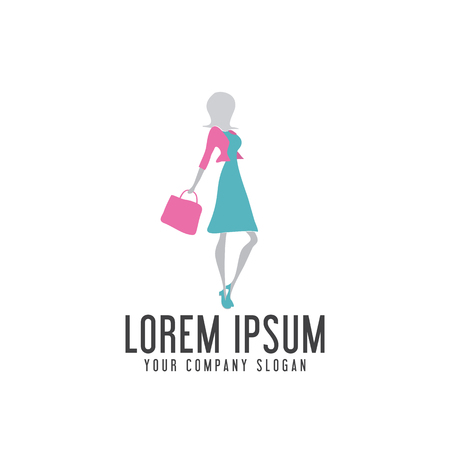 shoping woman logo design concept template Illustration