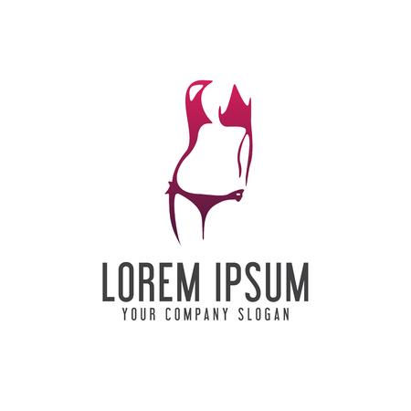 下着女性ロゴ デザイン コンセプト テンプレート