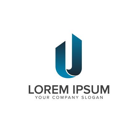 letter u logo. Architecturale constructie logo ontwerpsjabloon concept