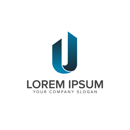 letter u logo. Architectural Construction logo design concept template