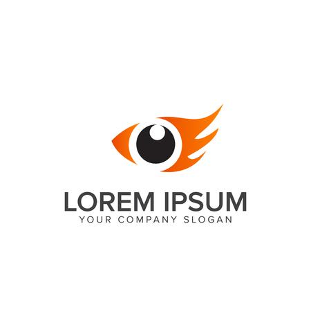 eye bird logo design concept template. eye fish logo Çizim