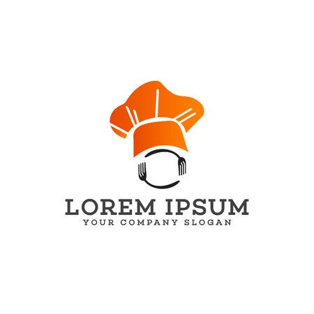 シェフ フォークとスプーンのロゴ デザイン コンセプト テンプレート  イラスト・ベクター素材