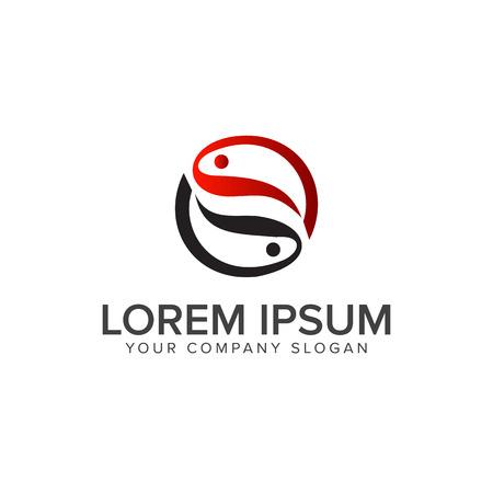 Paar Fisch Logo Design Konzept Vorlage Standard-Bild - 82889134