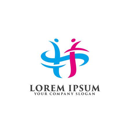 Buchstabe h Menschen Logo Design Konzept Vorlage Standard-Bild - 82889234