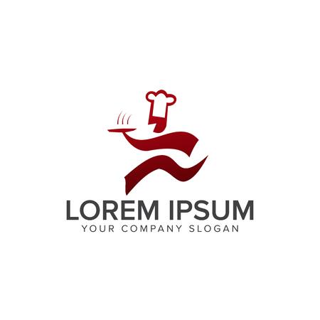 シェフのロゴを実行します。レストランのロゴ デザイン コンセプト テンプレート