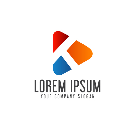 letter K media logo design concept template