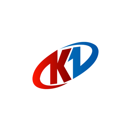 letter K . red blue color, circle design concept template Illustration