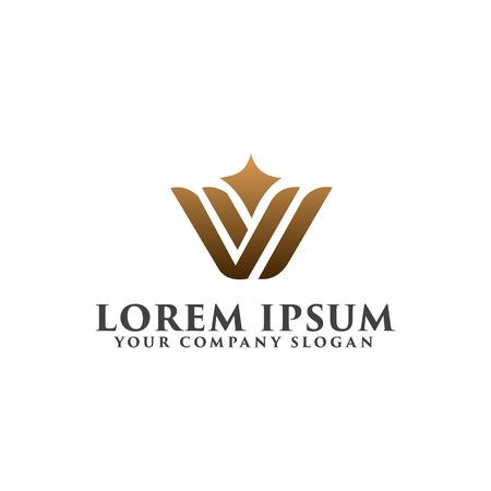 高級 W 文字ロゴ デザイン コンセプト テンプレート