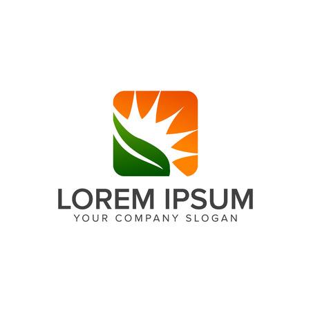 blad en zon logo. Landscaping Leaf Garden natuur logo ontwerp concept sjabloon