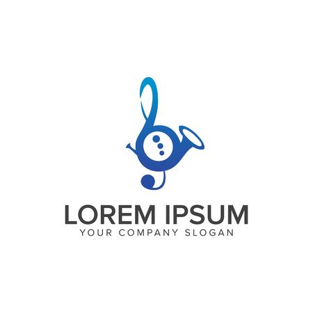 Modelo de conceito de design de logotipo de saxofone de música