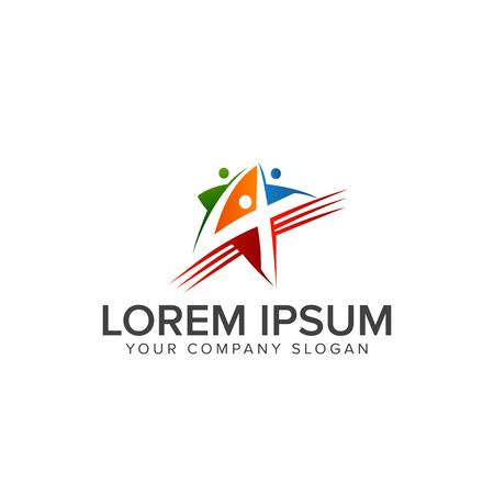 star people logo design concept template