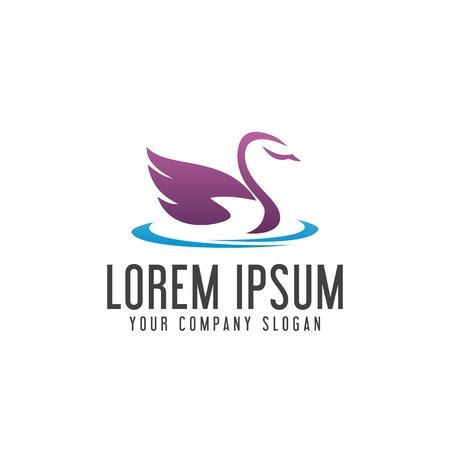 swan logo. animal Pet logo design concept template