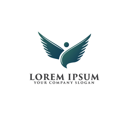 bird wing logo. stand posotion, logo design concept template Illustration