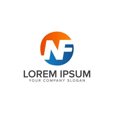 letter NF logo design concept template