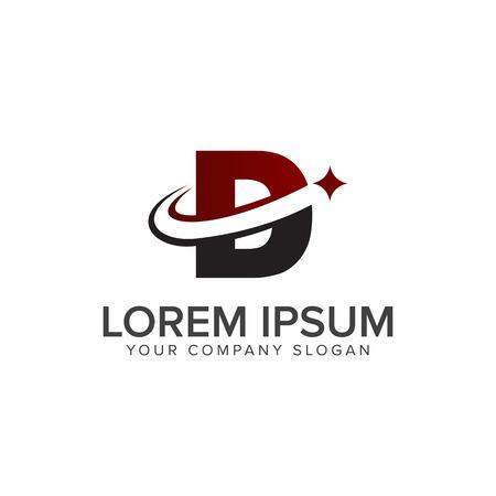 letter d logo met ster logo ontwerpsjabloon concept Stock Illustratie