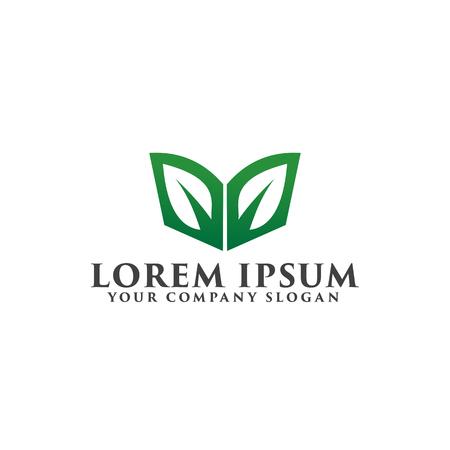 leaf green book logo. education logo design concept template Illustration