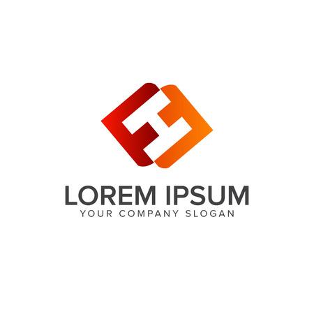letter h, f logo design concept template Çizim