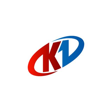 initial: letter K . red blue color, circle design concept template Illustration