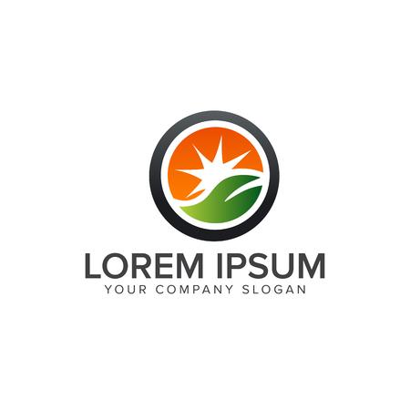 leaf and sun logo. Landscaping Leaf Garden nature logo design concept template