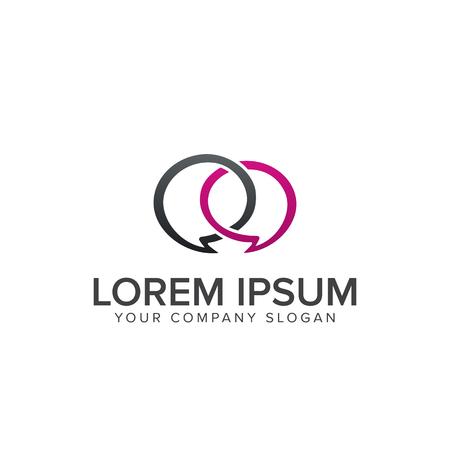 romantic chat logo. communication logo design concept template