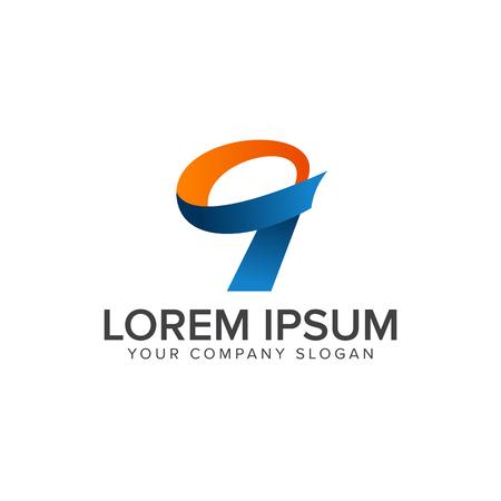 nummer 9 logo ontwerpsjabloon Stock Illustratie