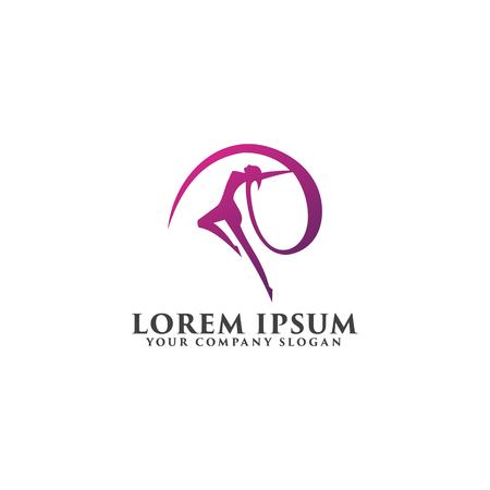 beautiful woman dancing logo design concept template