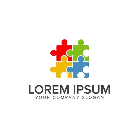 퍼즐 로고. 여러 가지 빛깔의 로고 디자인 컨셉 템플릿