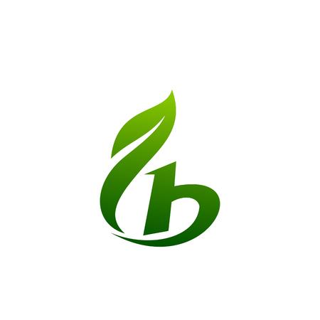 modèle de concept de conception de logo de lettre b feuille