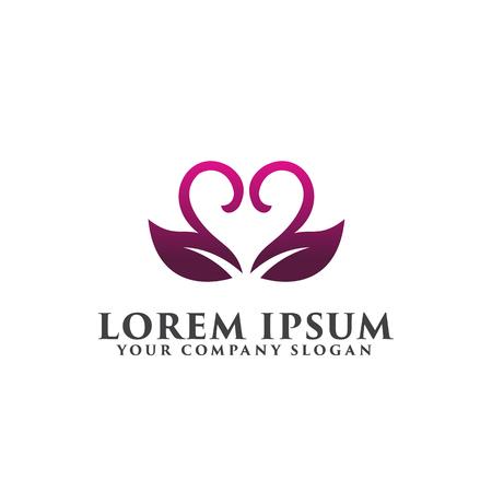 葉 coupleromantic ロゴ。結婚式ロゴ デザイン コンセプト テンプレート