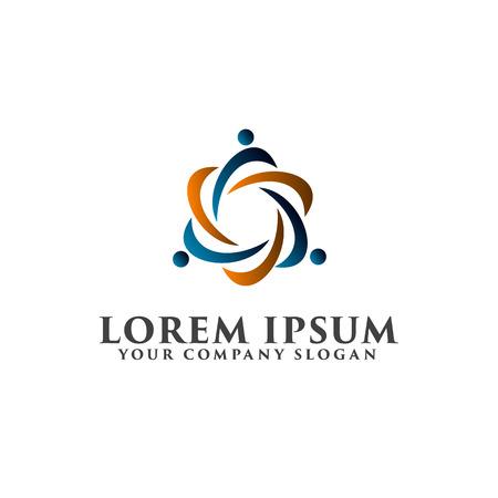people network partners logo design concept template